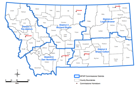photo of map of Fish & Wildlife Commission districts