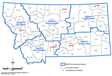 Map of Commission Districts in Montana