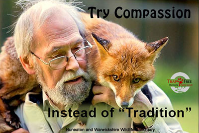 Photo of a  man showing compassion with a fox instead of in a trap and killing it for fun.